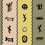 Coloured seamless texture with petroglyphs