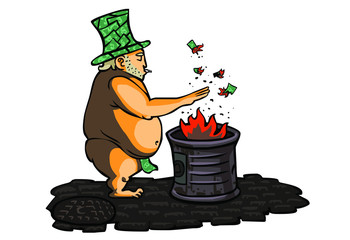 homeless banker heating up with the fire of a barrel