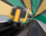 Commuter Train Speeding in Tunnel with Radial Zoom Blur poster