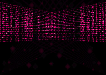 Black background with pink retro elements of disco ball,