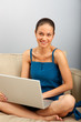 Young female sitting on the sofa  with laptop