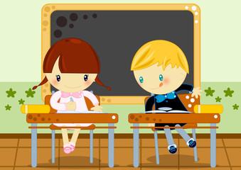 compito in classe alla scuola elementare