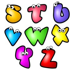 Cartoon Font Type_Letter S to Z