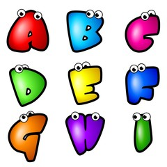 Cartoon Font Type_Letter A to I
