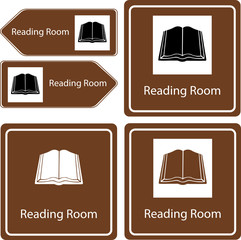 reading room and library sign