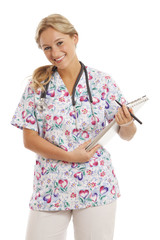 Portrait of young nurse with stethoscope and medical chart