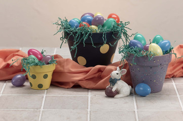 three easter painted pots