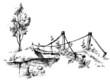 Landscape with suspended bridge over river sketch