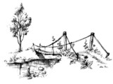 Landscape with suspended bridge over river sketch - 25474274