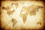 Grunge rubbed map of the world background. poster