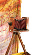 Beautifully crafted, vintage, wood and brass camera isolated