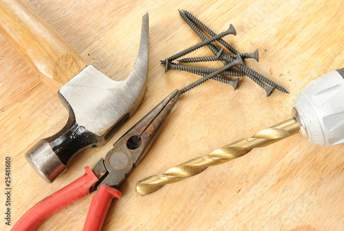 Tools on a wood table