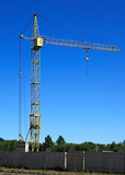 High-altitude construction crane. poster