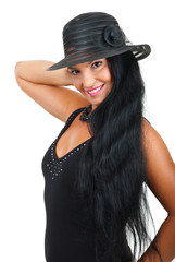 Attractive woman  with elegant  hat