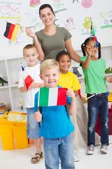 cute italian preschooler and diverse classmates