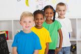 Fototapety happy preschoolers in a row