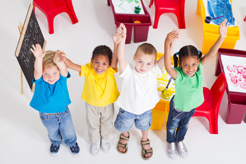 overhead of happy preschool kids