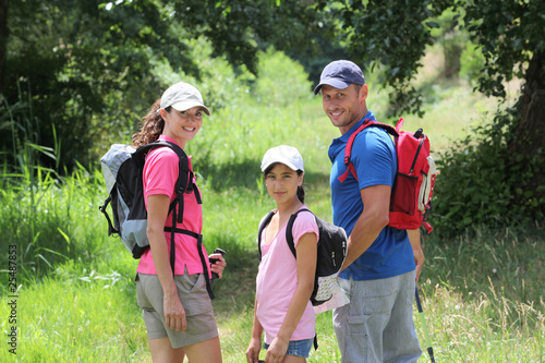 Family hiking in the countryside