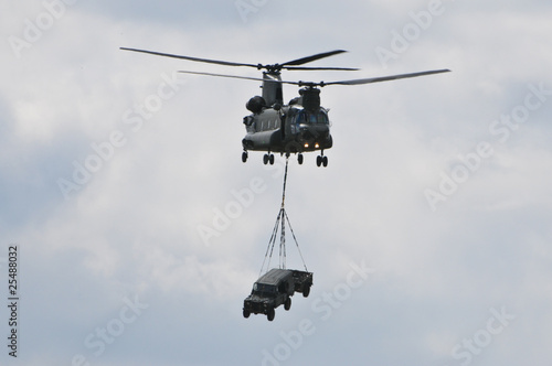 Chinook Helicopter transporting car