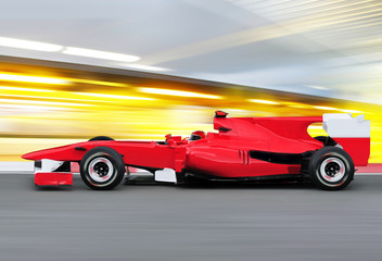 formula one race car on speed track