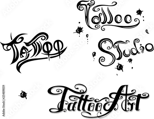 schriftz ge tattoo studio logo vector set stockfotos. Black Bedroom Furniture Sets. Home Design Ideas