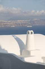 cyclades white stucco architecture cruise ship view santorini