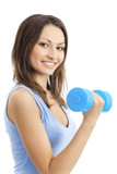 Young woman in sportswear with dumbbell, isolated on white poster