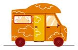 divertente camper arancione su sfondo bianco poster