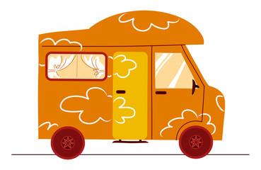 divertente camper arancione su sfondo bianco