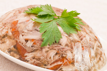 Decorated aspic with chicken meat