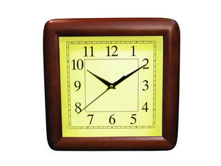 isolated yellow wooden clock on white, time passing