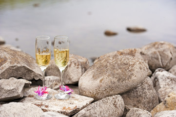 bride and groom wine glasses on rocky beach