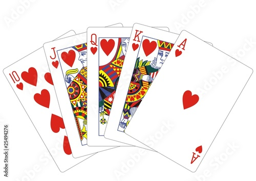 royal flush hearts playing cards