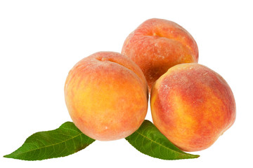 peaches isolated on the white background