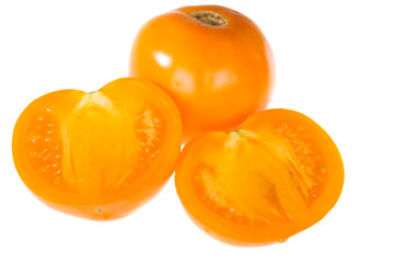 orange tomatoes isolated on the white background