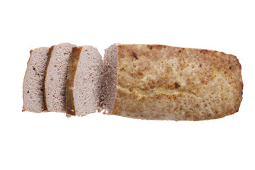 meat roll on white background