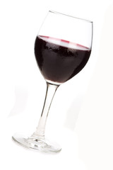 footed tumbler with wine isolated on the wihte background
