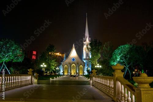 成都南湖欧洲风情街教堂夜景