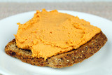 Red Pepper Hummus on Toast