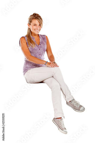 Casual woman seated