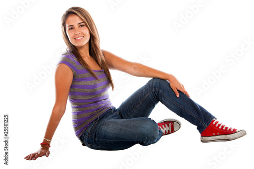 Woman sitting on the floor