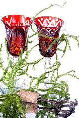 Wineglasses with lycopodium