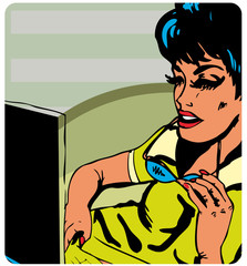 Pop-art Business woman working on a laptop at the office retro s