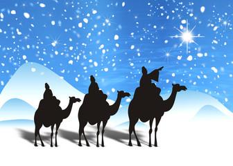 Fondo navideño con los Reyes Magos y la estrella de Oriente