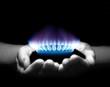 Leinwandbild Motiv gas in hands
