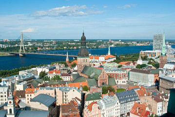 Aerial view of old city of Riga, Latvia