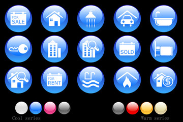 Real Estate icons crystal button