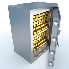 The reliable safe with gold ingots