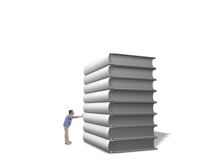 Boy push pile of white books over white background