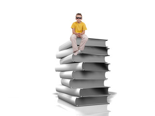 Boy sit on top of pile of white books over white background